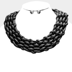 BRAIDED FAUX LEATHER COLLAR NECKLACE